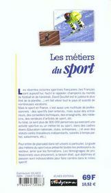 Metiers du sport (les) 2e edition - 4ème de couverture - Format classique