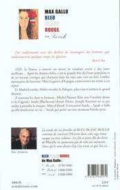 Bleu Blanc Rouge Tome 3 Sarah - 4ème de couverture - Format classique