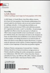 La belle illusion ; culture et politique du Front populaire - 4ème de couverture - Format classique