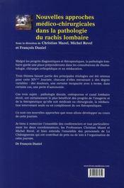 Nouvelles approches médico-chirurgicales dans la pathologie du rachis lombaire - 4ème de couverture - Format classique