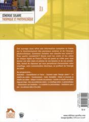 L'énergie solaire, thermique et photovoltaïque (2e édition) - 4ème de couverture - Format classique