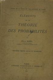 Elements De La Theorie Des Probabilites. - Couverture - Format classique