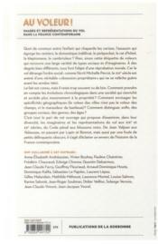 Au voleur ! images et representations du vol dans la france contemporaine - 4ème de couverture - Format classique