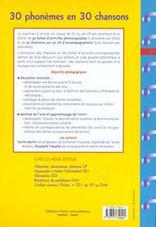 30 phonèmes en 30 chansons ; apprentissage des phonèmes ; grandes sections et cours préparatoires - 4ème de couverture - Format classique