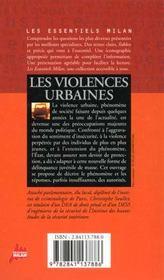 Les violences urbaines - 4ème de couverture - Format classique