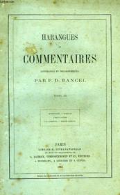 Harangues Et Commentaires Litteraires Et Philosophiques, Tome Iii - Couverture - Format classique