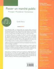 Passer un marché public ; principes, procédures, contentieux (2e édition) - 4ème de couverture - Format classique