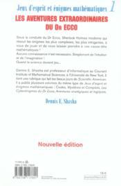 Jeux d'esprit et enigmes mathematiques 1 (nouvelle edition) - 4ème de couverture - Format classique
