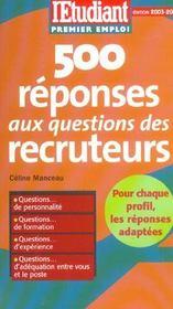 500 réponses aux questions des recruteurs (édition 2003/2004) - Intérieur - Format classique