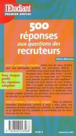 500 réponses aux questions des recruteurs (édition 2003/2004) - 4ème de couverture - Format classique