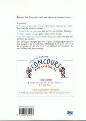 Concours Kine Manip 99 Sujets Officiels Corriges Tome 2 - 4ème de couverture - Format classique