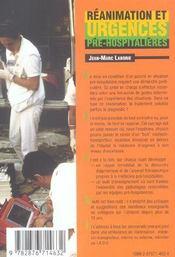 Reanimation Et Urgences Pre-Hospitalieres (4e édition) - 4ème de couverture - Format classique