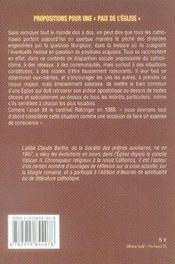 Propositions pour une paix de l'église ; l'union des forces vives, une nécéssité - 4ème de couverture - Format classique