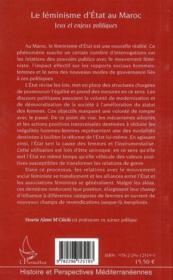 Le féminisme d'état au Maroc ; jeux et enjeux politiques - 4ème de couverture - Format classique