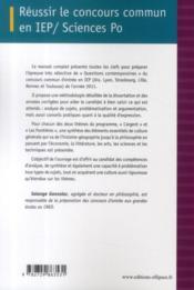 Réussir le concours commun en IEP-Sciences Po ; les frontières, l'argent (édition 2011) - 4ème de couverture - Format classique
