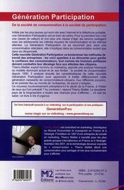 Génération participation : de la société de consommation à la société de participation - 4ème de couverture - Format classique