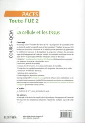 Toute l'UE 2 - cours + QCM ; la cellule et les tissus - 4ème de couverture - Format classique