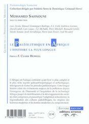 Le Paleolithique En Afrique L'Histoire La Plus Longue - 4ème de couverture - Format classique