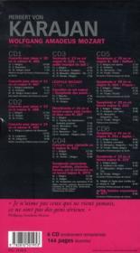 Herbert von Karajan - Symphonies et concertos de Mozart - Coffret 6 CD - 4ème de couverture - Format classique