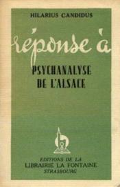 Réponse à psychanalyse de l'alsace - Couverture - Format classique