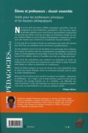 Élèves et professeurs : réussir ensemble ; outils pour les professeurs principaux et les équipes pédagogiques - 4ème de couverture - Format classique