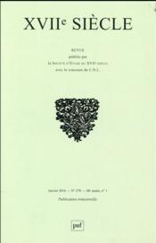 Revue Xviie Siecle N.270 - Couverture - Format classique
