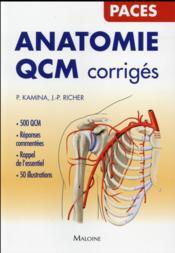 Anatomie qcm corriges - Couverture - Format classique