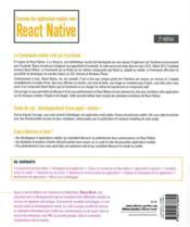 Concevez des applications mobiles avec React Native (2e édition) - 4ème de couverture - Format classique