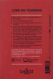 Code du tourisme, annoté et commenté (édition 2020) - 4ème de couverture - Format classique