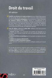 Droit Du Travail (18e Edition) - 4ème de couverture - Format classique