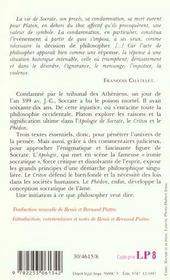 Apologie de socrate ; Criton ; Phédon - 4ème de couverture - Format classique