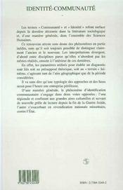 Identite-Communaute - 4ème de couverture - Format classique
