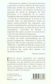 La France Est-Elle Un Pays D'Exception - 4ème de couverture - Format classique