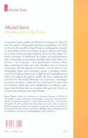 Michel leiris des premiers ecrits a l age d homme - 4ème de couverture - Format classique
