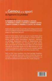Le genou et le sport ; du ligament à la prothèse - 4ème de couverture - Format classique