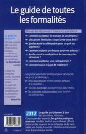 Le guide de toutes les formalites 2012 - 4ème de couverture - Format classique