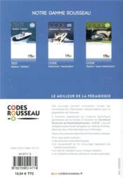 Code Rousseau ; option cotière (édition 2019) - 4ème de couverture - Format classique