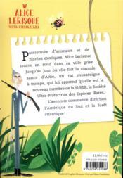 Alice Lerisque super exploratrice t.1 ; S.O.S forêt en danger - 4ème de couverture - Format classique