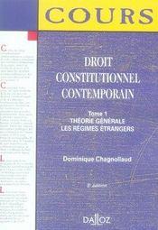 Droit Constitutionnel Contemporain T.1 ; Theorie Generale ; Les Regimes Etrangers (5e Edition) - Intérieur - Format classique