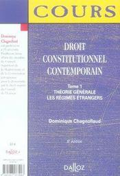 Droit Constitutionnel Contemporain T.1 ; Theorie Generale ; Les Regimes Etrangers (5e Edition) - 4ème de couverture - Format classique