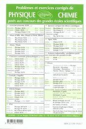Problemes Corriges De Chimie Concours Communs Polytechniques Tome 9 2002-2003 (Ex Ensi) - 4ème de couverture - Format classique