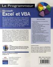 Microsoft excel et vba - 4ème de couverture - Format classique