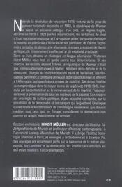 Republique de weimar - 4ème de couverture - Format classique