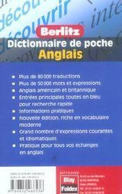 Anglais poche dictionnaire en francais - 4ème de couverture - Format classique