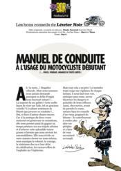 Manuel de conduite à l'usage du motocycliste débutant - Couverture - Format classique
