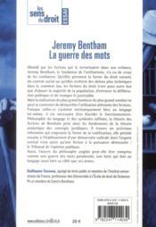 Jérémie Bentham, la guerre des mots (édition 2011) - 4ème de couverture - Format classique
