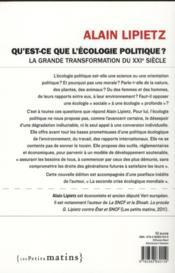 Qu'est-ce que l'écologie politique ? la grande transformation du XXI siècle - 4ème de couverture - Format classique