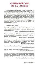 Anthropologie De La Colere ; Societe Civile Et Democratie En Afrique Noire - 4ème de couverture - Format classique