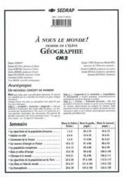 A Nous Le Monde ; Géographie ; Cm2 ; Dossier A Photocopier - Couverture - Format classique