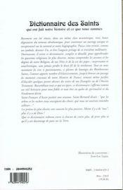 Dictionnaire Des Saints Qui Ont Fait Notre Histoire Et Ce Que Nous Sommes - 4ème de couverture - Format classique